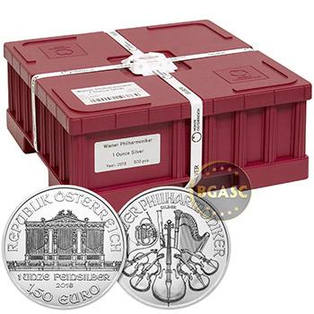 2018 1 oz Silver Austrian Vienna Philharmonics Unopened 20-Coin Roll Brilliant Uncirculated Bullion .999 Fine - Image
