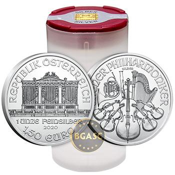 2020 1 oz Silver Austrian Vienna Philharmonic .999 Fine Silver Brilliant Uncirculated Bullion Coin BU - Image