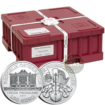 Mint Sealed Monster Box of 2021 1 oz Silver Austrian Philharmonics 500 Bullion Coins Brilliant Uncirculated