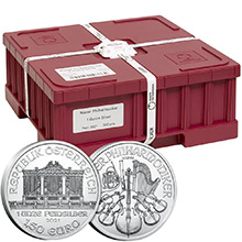 Mint Sealed Monster Box of 2021 1 oz Silver Austrian Philharmonics 500 Bullion Coins Brilliant Uncirculated