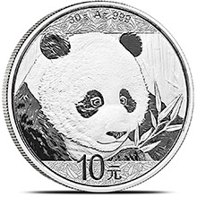 2018 30 gram Chinese Silver Panda Coin .999 Fine 10 Yuan Brilliant Uncirculated (in Capsule)
