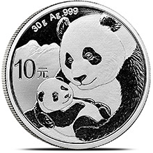 2019 30 gram Chinese Silver Panda Coin .999 Fine 10 Yuan Brilliant Uncirculated (in Capsule)