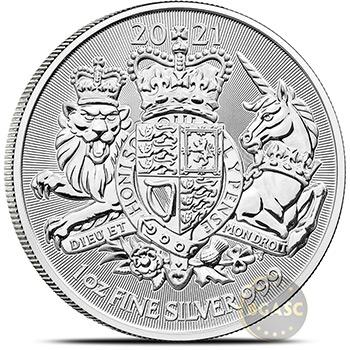 2021 1 oz Silver Great Britain The Royal Arms .999 Fine Bullion Coin Brilliant Uncirculated