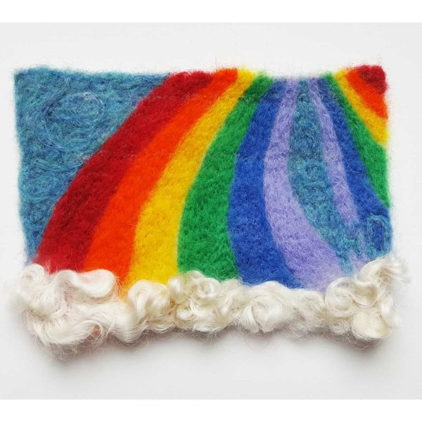 Rainbows-Needle-Felted-Wool-Painting by Hillary Dow
