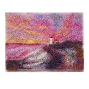 Portland-Head-Light-wool-fiber-painting by Maine artist Hillary Dow