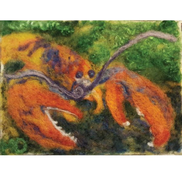 Maine-Lobster---Wool-Fiber-Painting-by-Hillary-Dow
