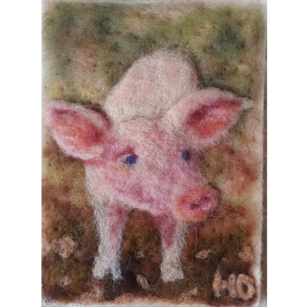 Wool Fiber Painting Poley the Picky Piglet