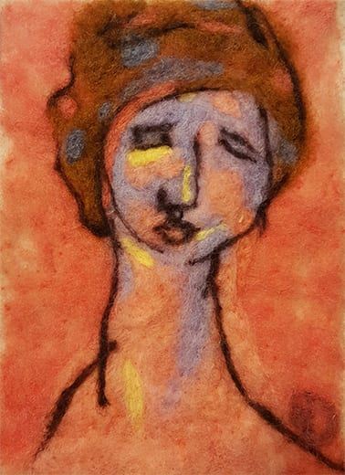 Wool Fiber Painting Inspired by Modigliani