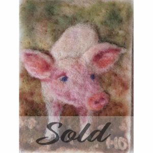 Piglet-original-wool-felted-illustration-by-Hillary-Dow
