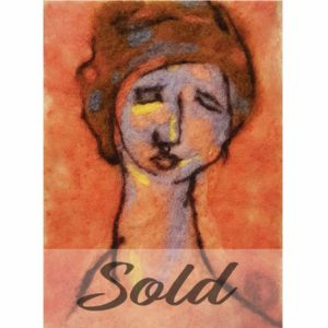 Modigliani-original-wool-felted-painting-by-Hillary-Dow-SOLD