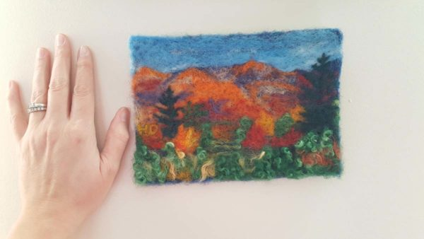 Fall Foliage in New England by Hillary Dow Fiber Arts Binding Tales wall decor hand/artwork size comparison