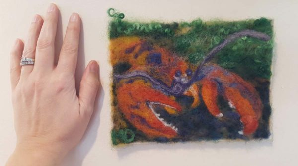 Maine Lobster by Hillary Dow Fiber Arts Binding Tales wall hanging coastal decor hand/artwork size comparison