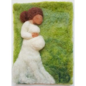 Expecting Mother wool fiber painting