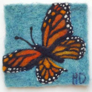 Monarch Butterfly Wool Fiber painting Hillary Dow