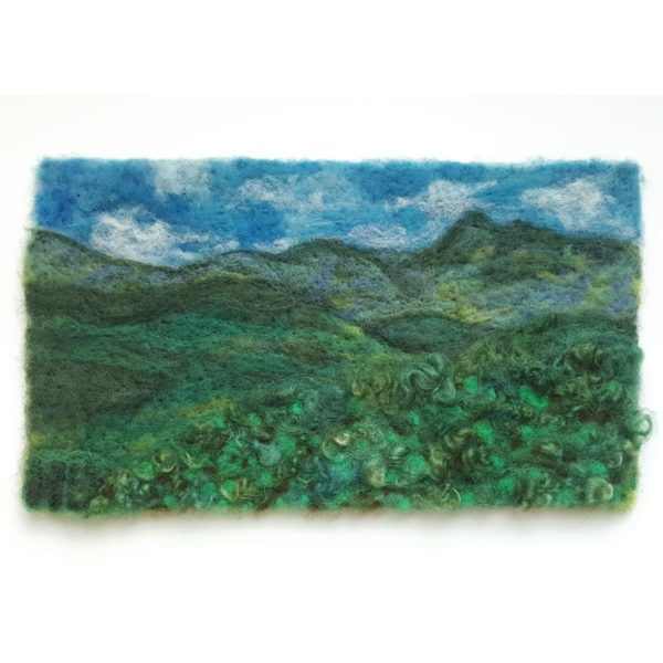 Maine-Mountains---Wool-Fiber-Painting-by-Hillary-Dow