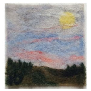 Halloween-Moon-wool-fiber-painting-by Maine artist Hillary Dow