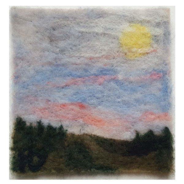 Halloween-Moon-wool-fiber-painting-by Maine artist Hillary Dow