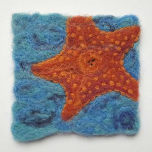 Starfish-wool-fiber-painting-Hillary-Dow-Maine artist, coastal decor
