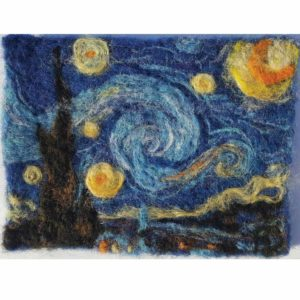 Starry-Night---Wool-Fiber-Painting-by-Hillary-Dow