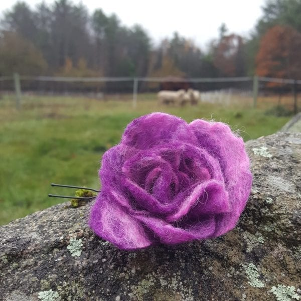 Wet Felted Rosebud Flower Hairpins of Lichendia Viéve Line created by Hillary Dow
