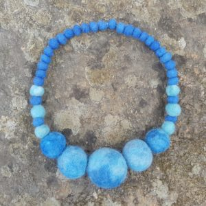 Blue statement necklace, a Lichendia design by Hillary Dow