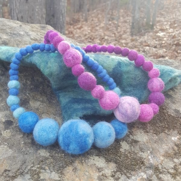 Pink and Blue statement necklace, a Lichendia design by Hillary Dow