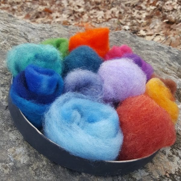 Felting wool in a variety of colors artist's palette puff pouch