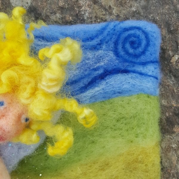The Sun Fairy of Lichendia, 3D wool felted illustration curly locks and sky detail, by Hillary Dow