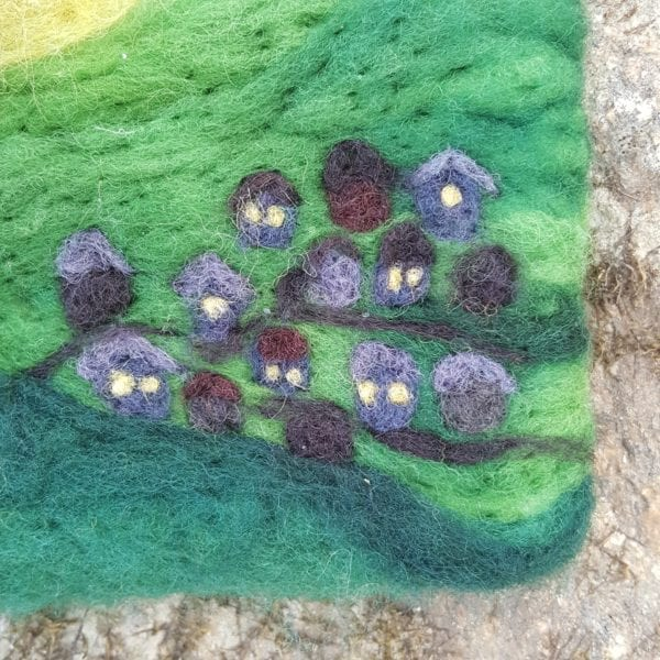 The Sun Fairy of Lichendia, 3D wool felted illustration aerial village detail, by Hillary Dow