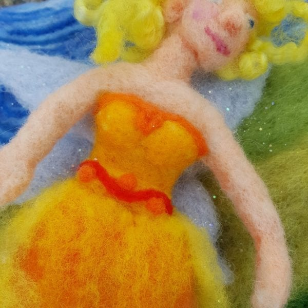 The Sun Fairy of Lichendia, 3D wool felted illustration pixie dust detail, by Hillary Dow