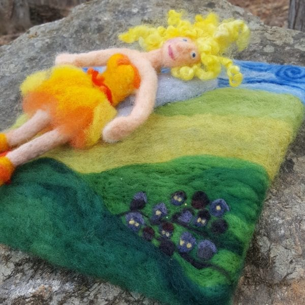 The Sun Fairy of Lichendia, 3D wool felted illustration Detail, by Hillary Dow