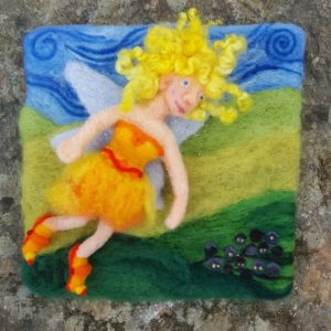 The Sun Fairy of Lichendia, 3D wool felted illustration by Hillary Dow