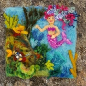 Underwater Mermaid, original 10 x 10 felted children's book illustration by Hillary Dow