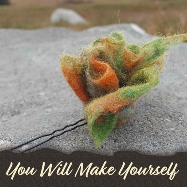 green and orange flower hairpin, hand felted, DIY kit