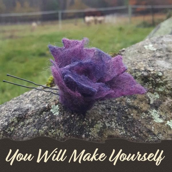 Red, blue and purple rosebud hairpin, hand felted, DIY kit