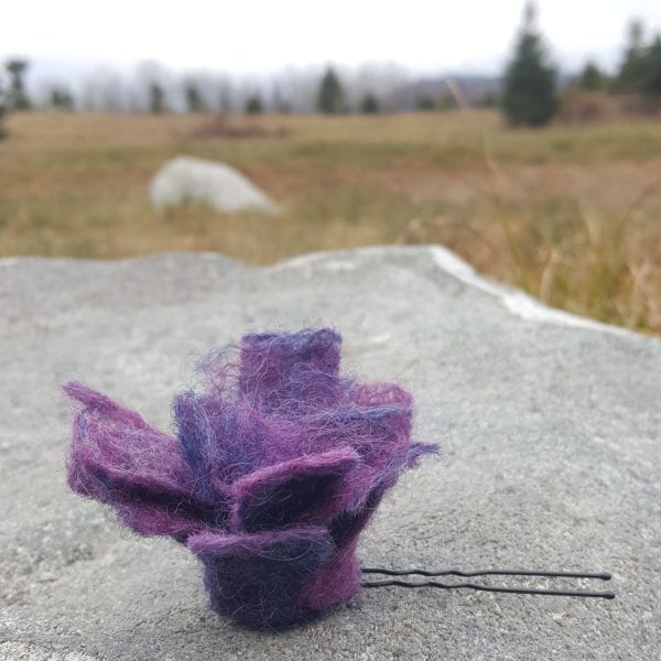 Hand felted purple and navy blue Flower Hairpins by Hillary Dow, Made in Maine