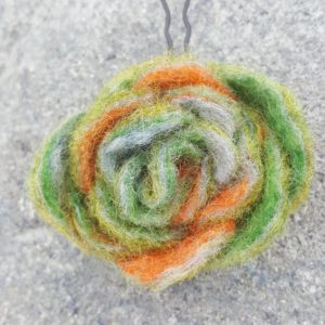 Hand felted Green and Orange Flower Hairpins by Hillary Dow, Made in Maine