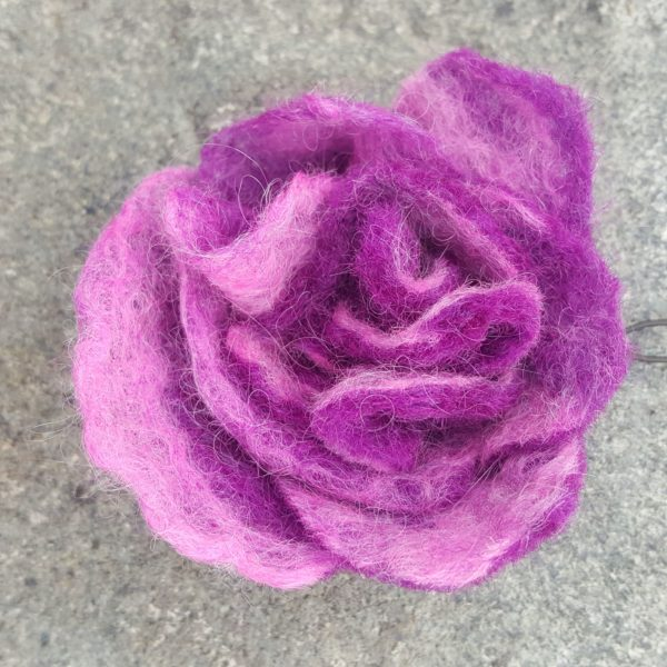 Hand felted Pink Flower Hairpins by Hillary Dow, Made in Maine