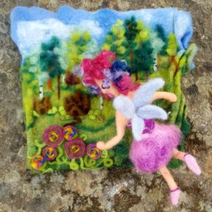 Vieve turns fairy enters Lichendia by Hillary Dow 10 x 10 original felted illustration