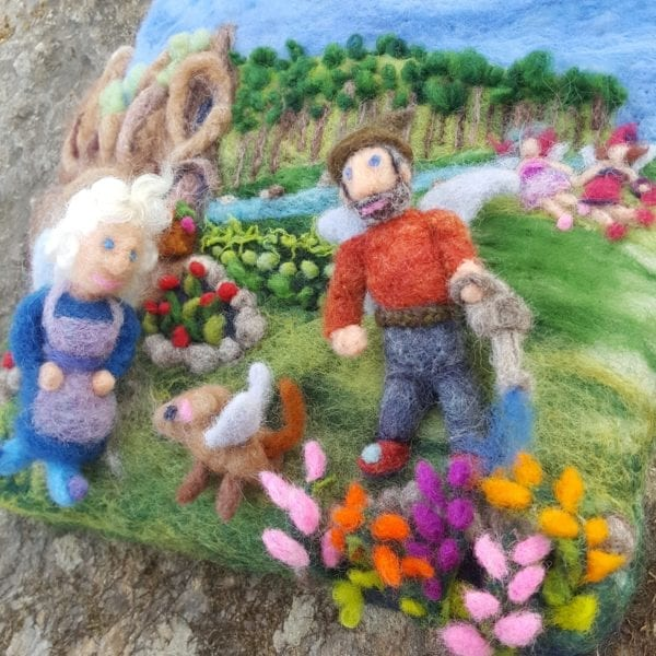 Detail Babcia and Dziazia's Garden Felted Fairyland Illustration by Hillary Dow