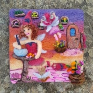 Felted Illustration Eva's Fairy Workshop in Lichendia - by Maine artist Hillary Dow