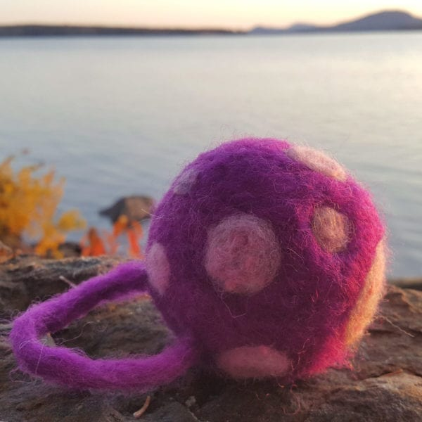 Pink felted ornamental ball from the Vieve line of Lichendia, by Maine artist Hillary Dow