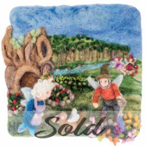 Lichendia-3D-original-wool-felted-illustration-babcia-dziazia-house-by-Hillary-Dow-SOLD