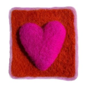 Happy Heart felting kit for beginners pink and orange
