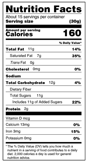 60% Solid Dark Bar Nutrition Facts