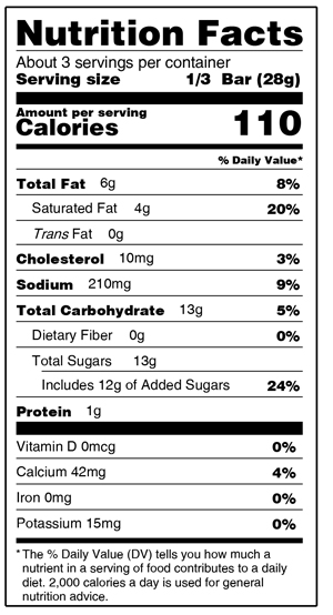 Dulce De Leche Bar Nutrition Facts