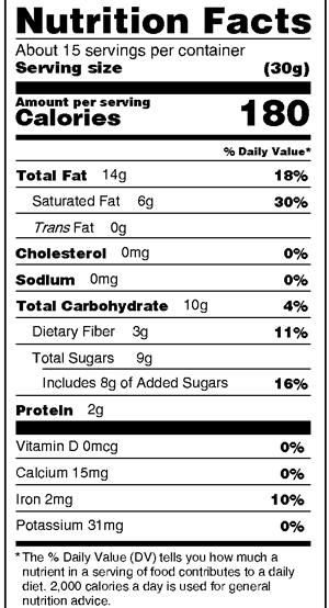 Dark Almond Bark Nutrition Facts