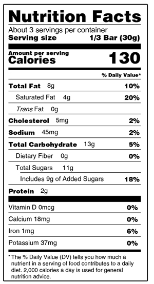 Bourbon & Black Walntu Nutrition Facts