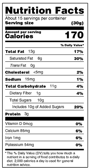 Milk Almond Bark 1 LB Nutrition Facts