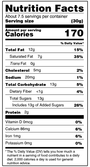 Bissingers Nutrition Facts